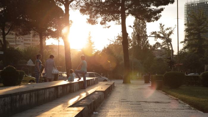 Residents of Tirana, Albania enjoy the last hours of the day.
