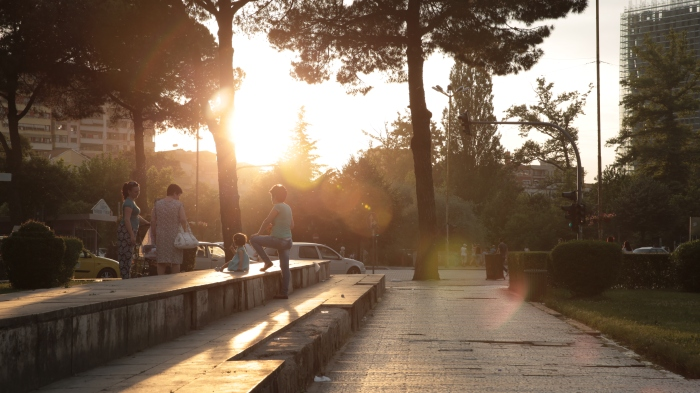 Residents of Tirana, Albania enjoy the last hours of the day.